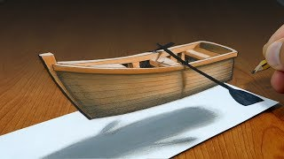 3D Trick Art on Paper   Floating boat   Optical Illusion