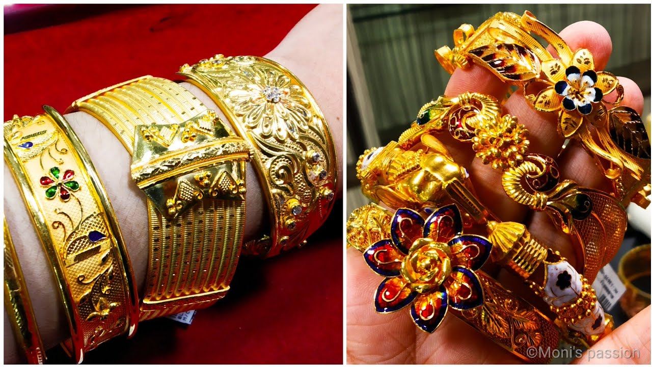 Huge collection of gold kankon bracelet bangles chur with price and weight/gold jewellery#jewellery