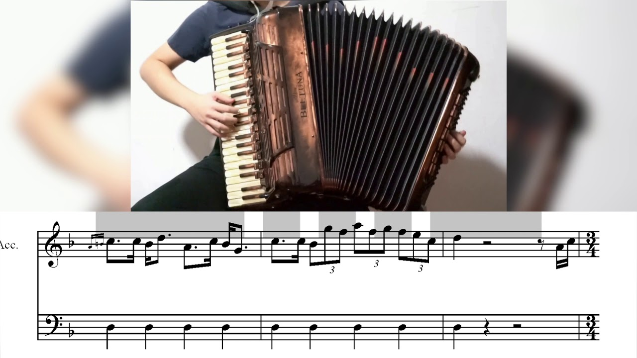 [Accordion]Pirates of the Caribbean - He's a Pirate - with score[Replace]