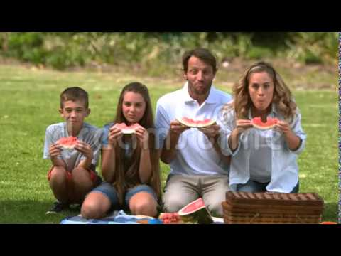 Stock video of Happy family eating a watermelon while having a picnic