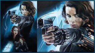 Black Widow (Scarlett Johansson) - The Avengers   Speed Art Drawing Painting