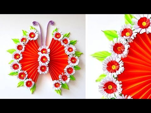 DIY PAPER BUTTERFLY WALL HANGING | WALL DECOR IDEA | Paper Flower Wall Hanging 2