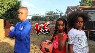 BRO VS TWIN SISTERS *IMPOSSIBLE* Football Challenge