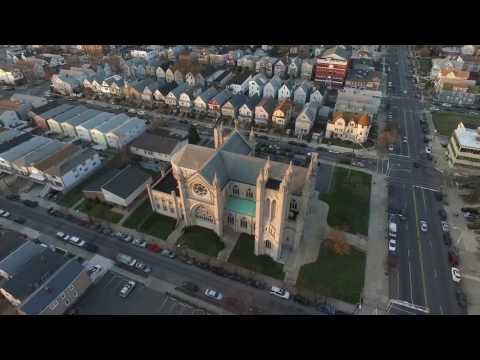Aerial view of St Henry's church, Bayonne New Jersey