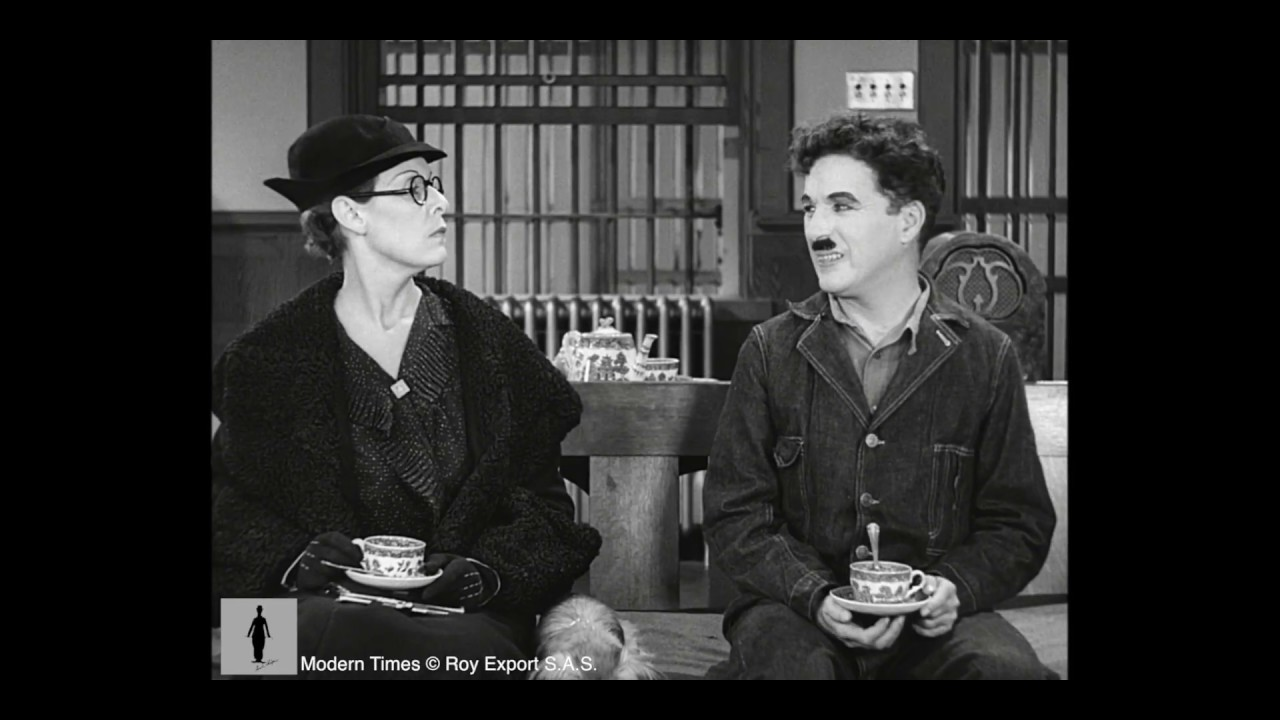 Charlie Chaplin -  Stomach rumbling scene - Modern Times