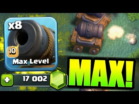 Thumbnail: NEW TROOP GEMMED TO MAX LEVEL IN CLASH OF CLANS BUILDERS HALL!! - Level 10 Cannon Cart!