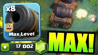 NEW TROOP GEMMED TO MAX LEVEL IN CLASH OF CLANS BUILDERS HALL!! - Level 10 Cannon Cart!