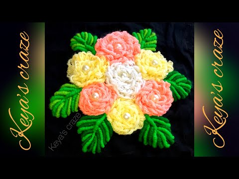 Loose Blanket stitch flower  and  bullion knot stitch leaf hand embroidery tutorial |  2018