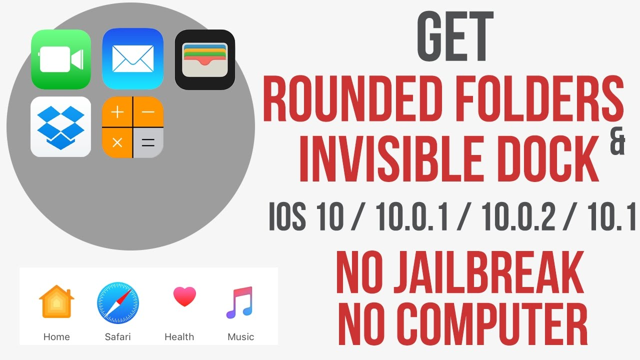 Get Rounded Folders Transparent Dock IOS 10