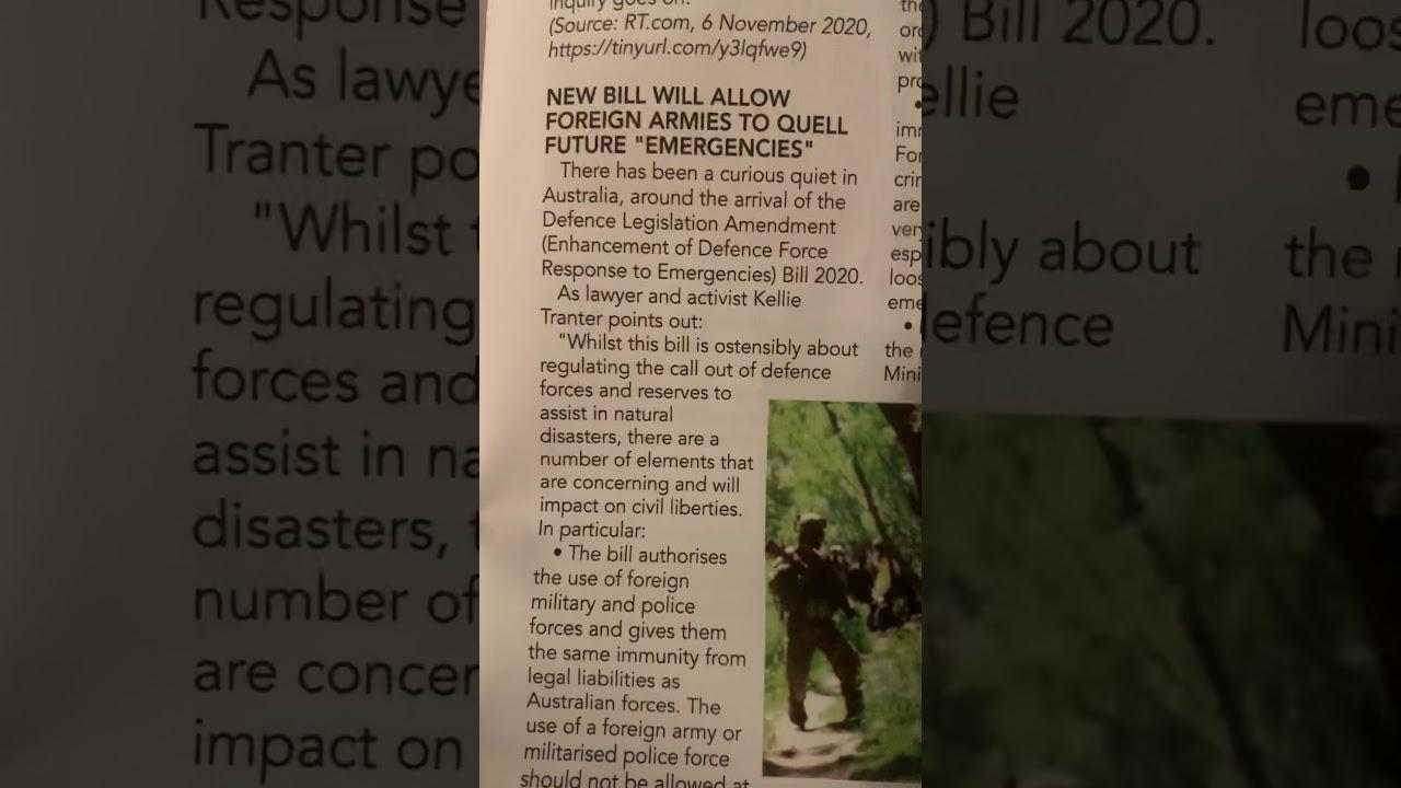 New Bill Allows Foreign Armies on Australian Soil.