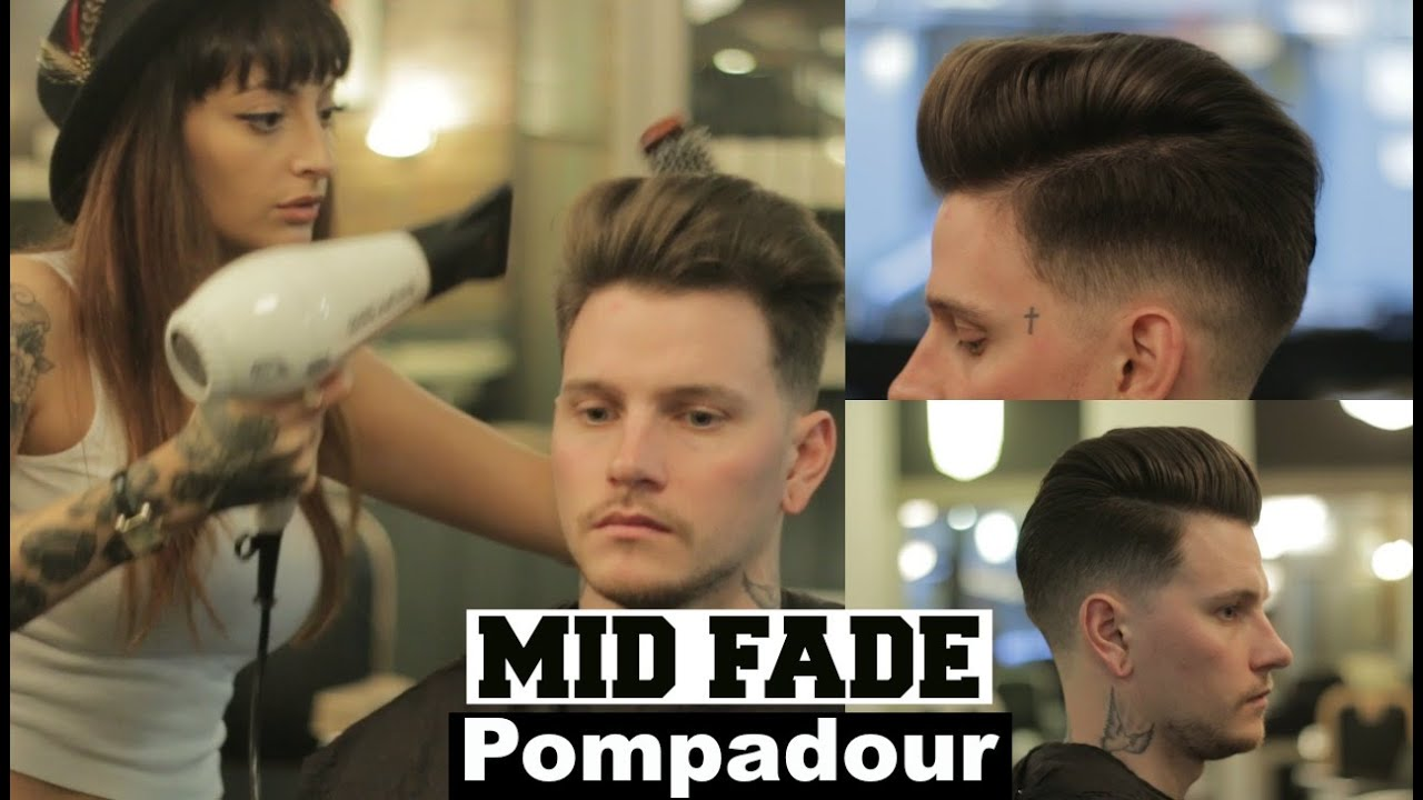 Mid Fade Pompadour Hairstyle Tutorial 2018 With Female Barber