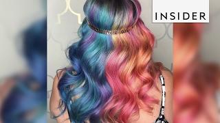 A hairstylist makes rainbow hair transformati...