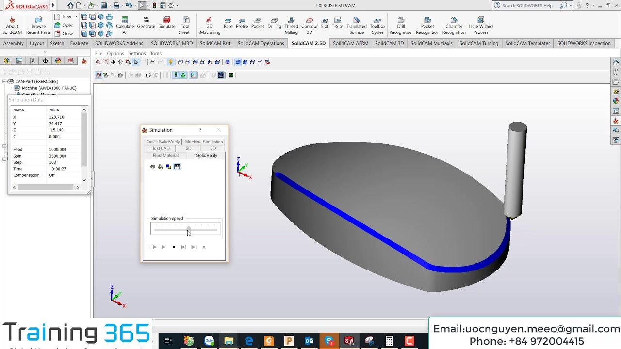 SolidCAM & InventorCAM Tutorial 4 | Contour 3D Milling - CAD