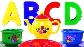 Kids Learn Colors & ABCs with Alphabet Tea Set & Play Doh for Children | Teach Colours & ABC Song