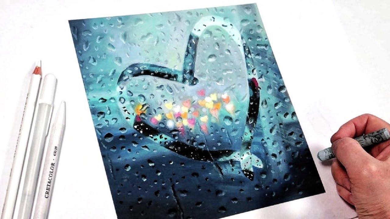 오일파스텔로 비오는 유리창에 하트 그리기, Draw a heart on a rainy window with an oil pastel