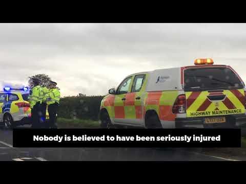 Car overturns in A47 crash