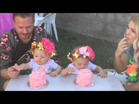 Twin Baby Girls 1st Birthday Party Luau YouTube
