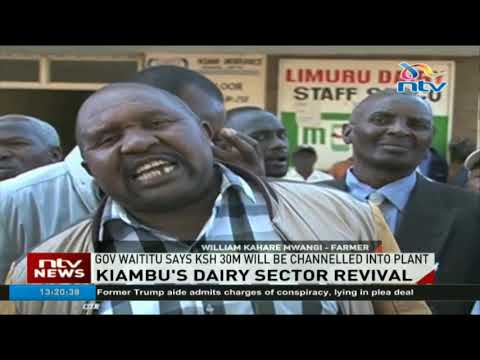 Kiambu county government delivers milk coolers for Limuru processing plant