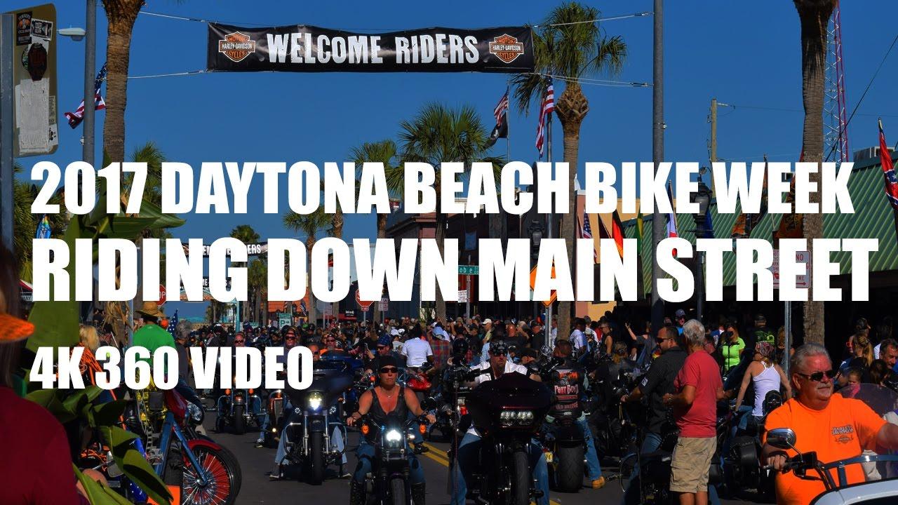 Daytona Beach Bike Week 2017 Main Street Ride In 4k 360 Video 360fly