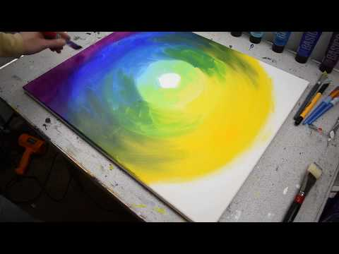 Sunset Landscape Abstract Painting - Acrylic Painting Time-lapse Demonstration