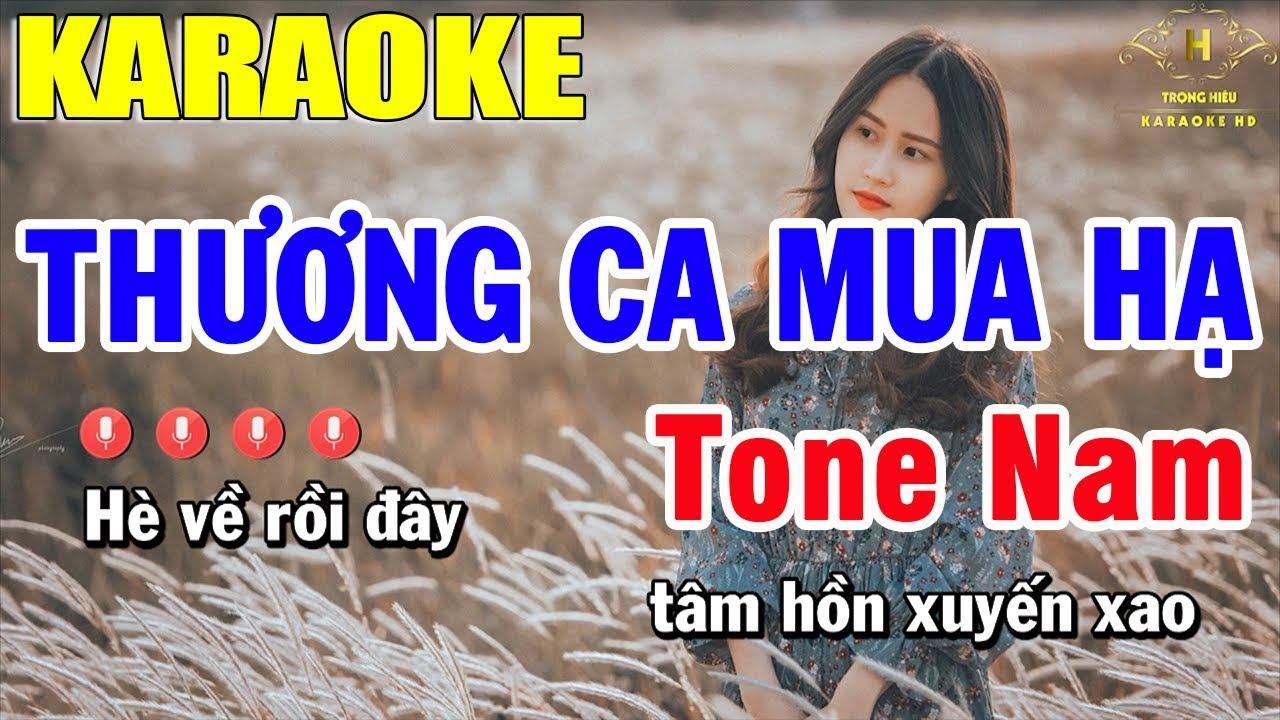 Karaoke Thương Ca Mùa Hạ Tone Nam Nhạc Sống | Trọng Hiếu