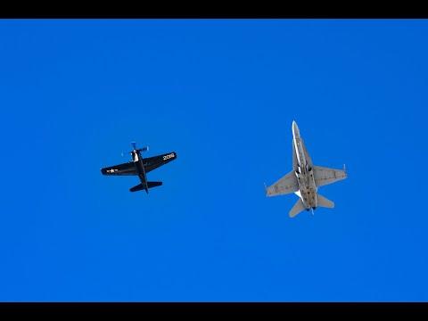 US Navy Legacy Flight F/A-18C & F-8F Bearcat Aviation Nation 2010 Nellis Air Force Base Day1