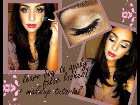 How to Apply False Eyelashes + Makeup Tutorial
