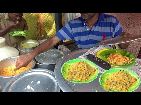 Egg (Anda) Rice @ 30 Rs \ Lemon Rice & Curd Rice 20 Rs     Chennai People Enjoying Roadside Food