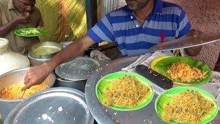 Egg (Anda) Rice @ 30 Rs \ Lemon Rice & Curd Rice 20 Rs ||  Chennai People Enjoying Roadside Food