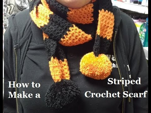 How To Crochet A V Stitch Striped Scarf Teamschool Colours Youtube