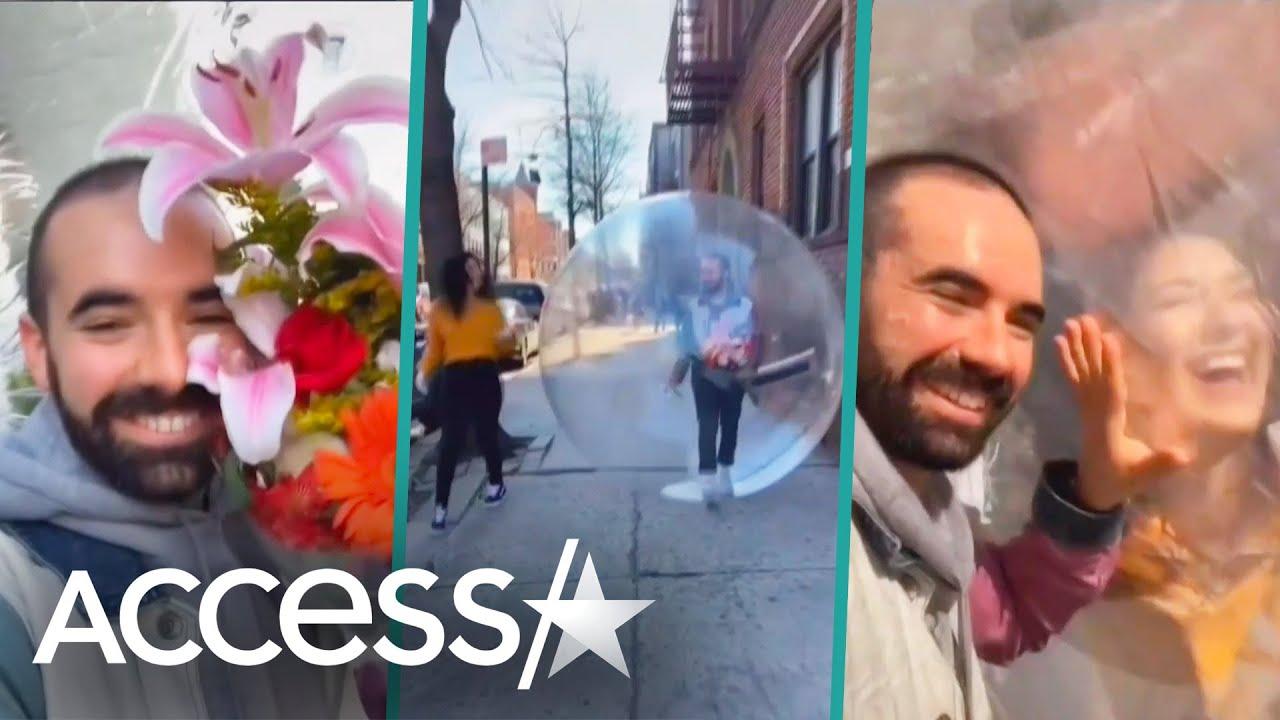 Quarantine Daters Go On Romantic Stroll Using Giant Bubble