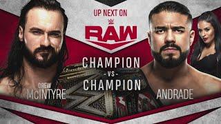 Drew McIntyre Vs Andrade Champion Vs Champion Match WWE Raw 13 04 2020 En Español