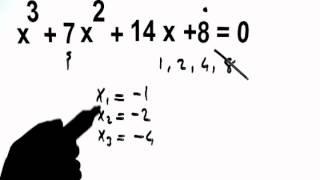 kök bulma  ( a=1) kökler tamsayı ve 3.derece için geçerli