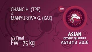 1/2 FW - 75 Kg: G. MANYUROVA (KAZ) Df. H. CHANG (TPE) By TF, 10-0