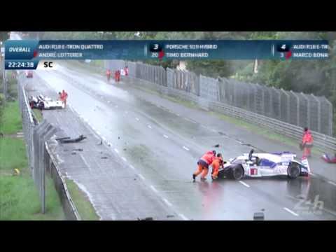 24h Le Mans 2014 Audi R18 #3 Toyota TS040 #8 Crash In Rain 720p