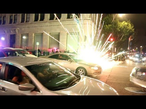 Firework EXPLODES In Cops Face On Hollywood Blvd...