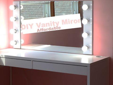 DIY VANITY MIRROR WITH LIGHTS UNDER $100