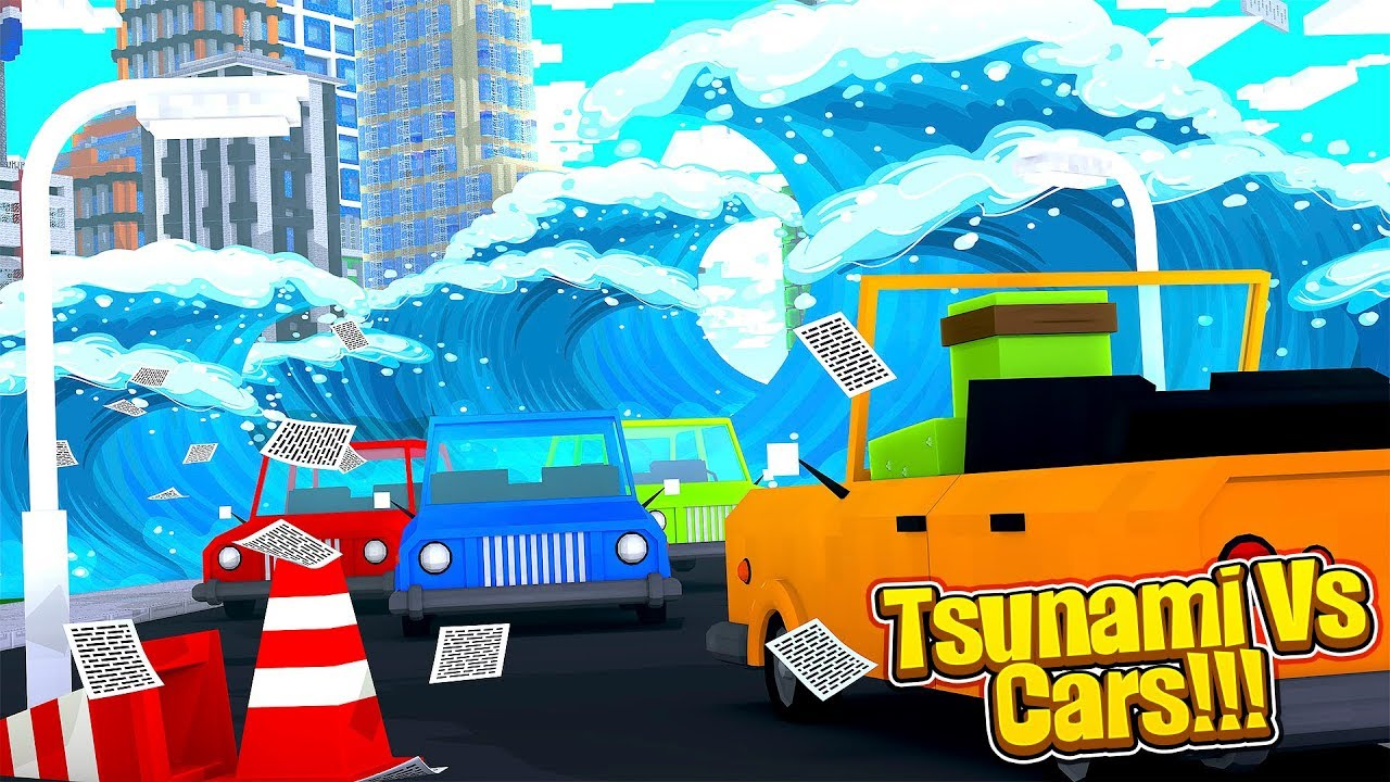 Minecraft TSUNAMI VS CARS CHALLENGE w/TinyTurtle