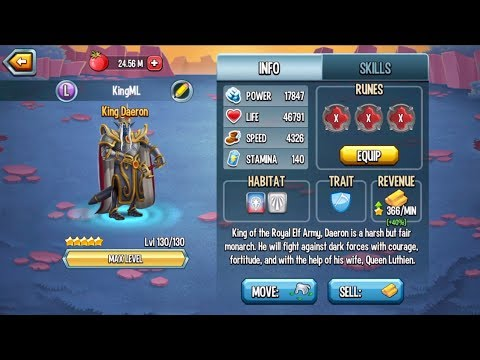 Monster Legends - King Daeron level 1 to 130 review combat Arena - Multiplayer Mode Season2