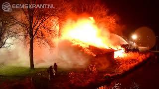 Uitslaande brand verwoest roeiloods  Koninklijke Zeil- en roeivereniging Neptunus in Delfzijl
