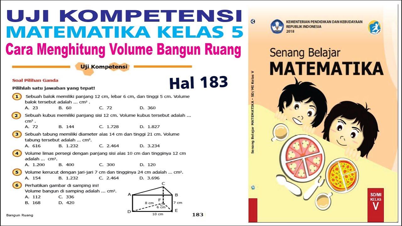 Uji Kompetensi Matematika Kelas 5 Halaman 183 Cara Menghitung Volume Bangun Ruang Youtube