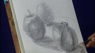 Уроки рисования (№ 9) карандашом. Рисуем фрукты: яблоко, апельсин, гранат