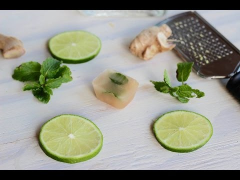 Cocktail Recipe: Lime, Ginger, Honey & Mint Infused Ice Cubes by CookingForBimbos