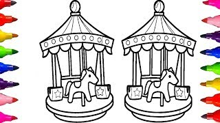How to DRAW and COLOR| CAROUSEL with HORSE Coloring Pages for kids Videos Learning Art