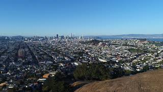 Flying Above San Francisco From Bernal Heights Park