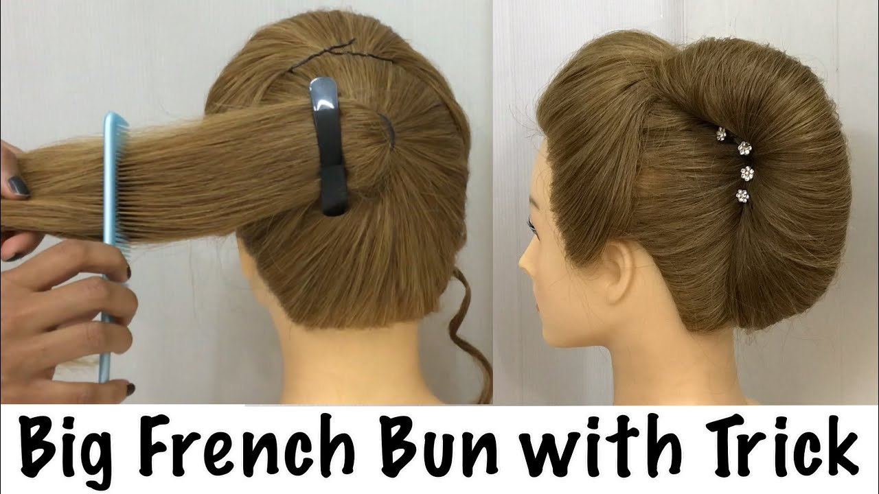 big french bun hairstyle new trick | french roll, french twist hairstyle | hairstyles
