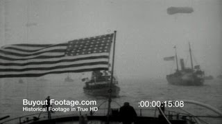 HD Stock Footage WWI - U.S. Navy Fleet Returns to New York Harbor 1918