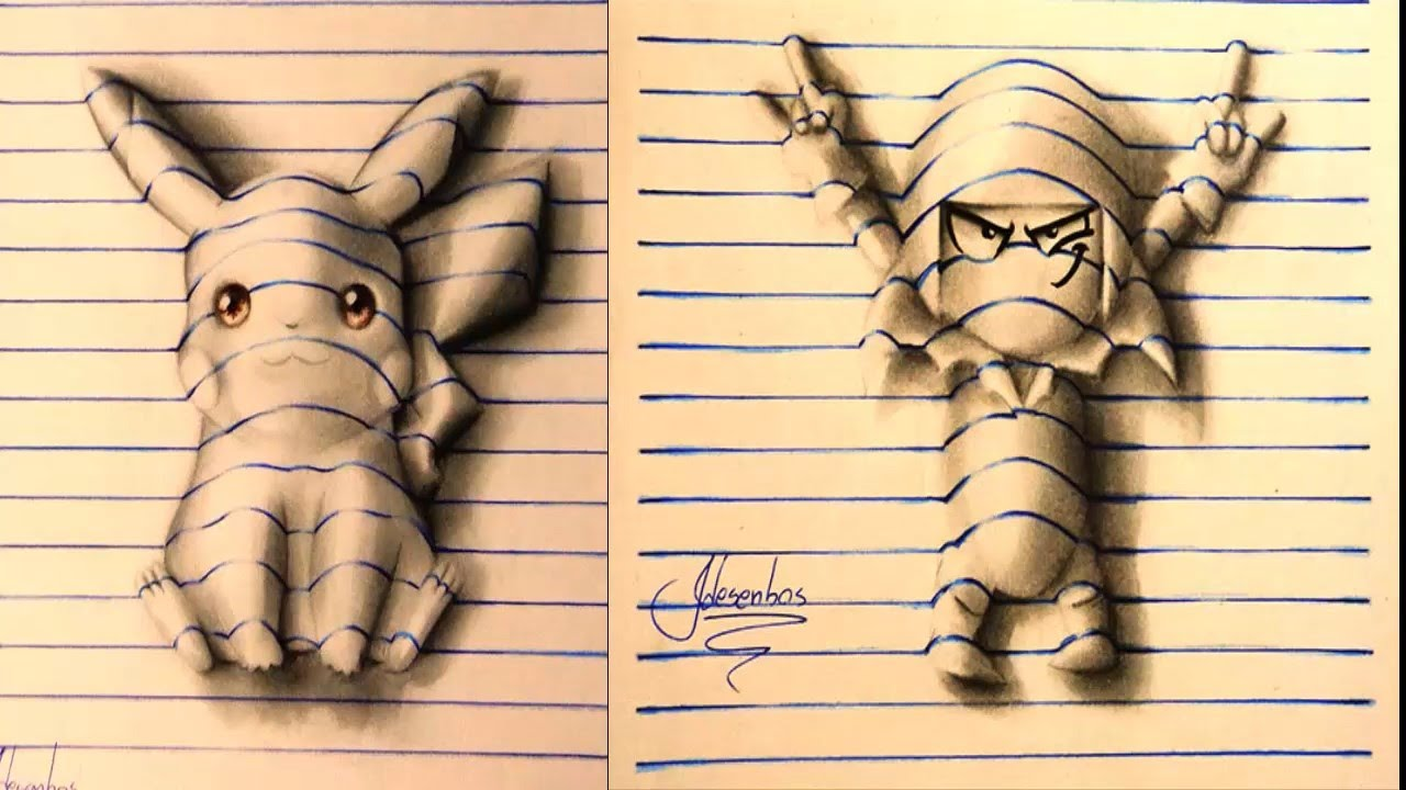 Awesome 3D Notebook Drawings - YouTube
