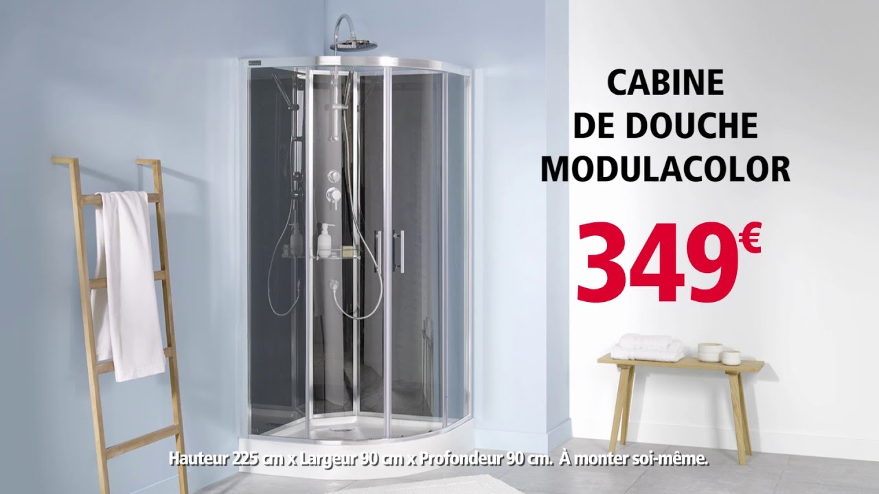Brico d p t cabine de douche modulacolor 2 youtube for Miroir 90x90