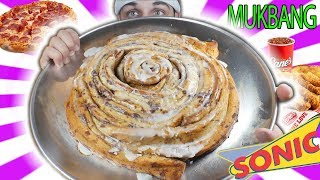 +10,000 CALORIES MUKBANG CINNAMON ROLLS, PIZZA AND MORE! (CHEAT DAY DIET #3)